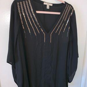 Sejour Black Sheer Decorated V-Neck Size 14W